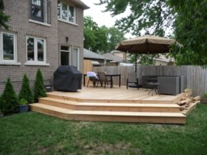 backyard cedar deck before water seal