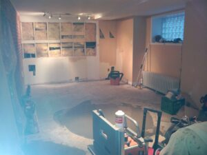 Basement room before