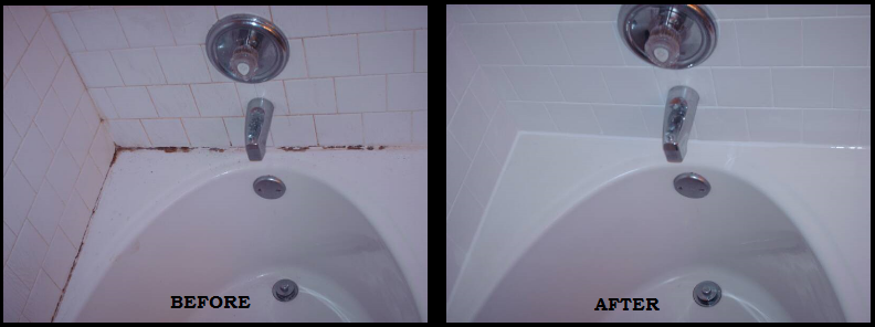 bathtub caulking - before after