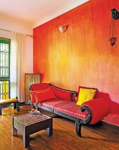 fiery red room